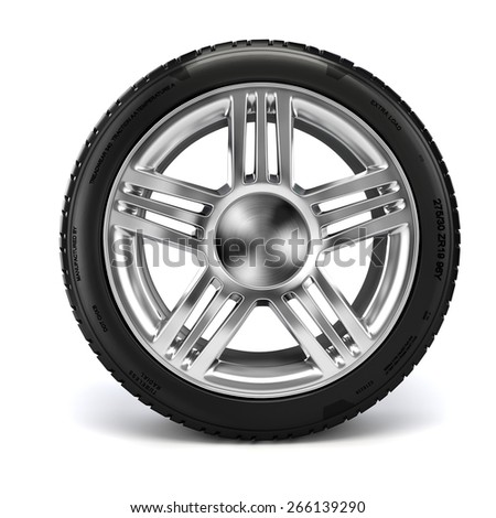 3d tire on white background - stock photo