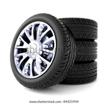 3d tires isolated on white background - stock photo