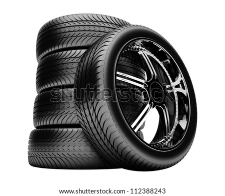 3d tires isolated on white background with no shadow