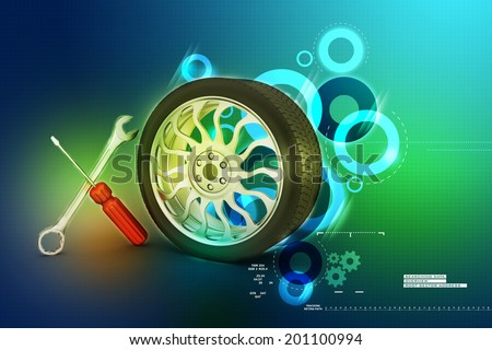 3d tires replacement concept   - stock photo