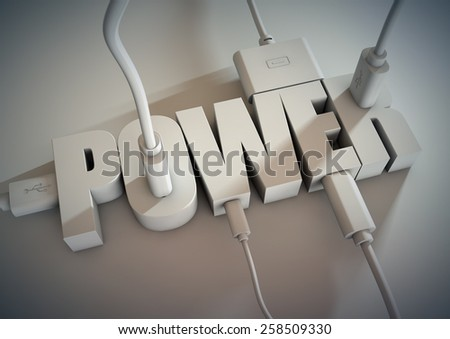 3d Title connected with computer cables and wires. Plugs using power and electricity. - stock photo