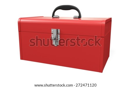3D. Toolbox, Work Tool, Red.