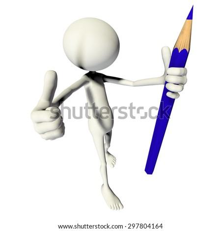 3D TOON WITH PENCIL - stock photo