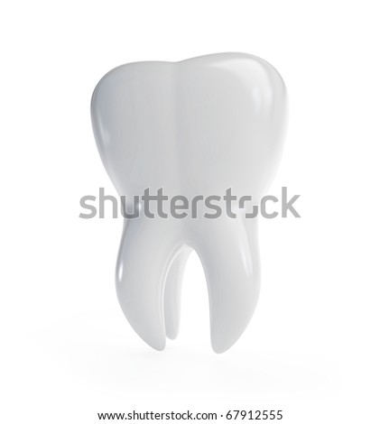 3d tooth is isolated on a white background - stock photo
