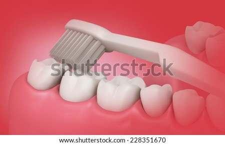 3D Toothbrush cleaning teeth in mouth - stock photo