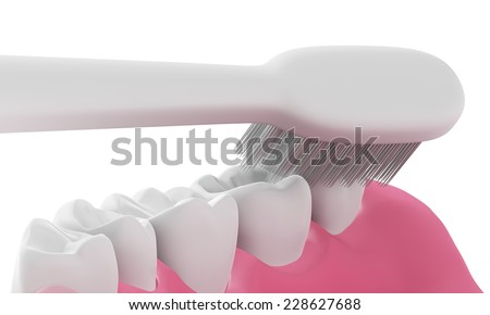 3D Toothbrush cleaning teeth in mouth,isolated  - stock photo