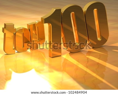 3D Top 100 Gold Text over yellow background - stock photo
