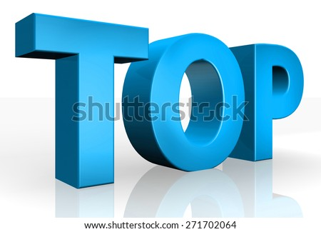 3D top text on white background - stock photo