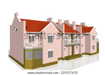 3d Townhouse on white