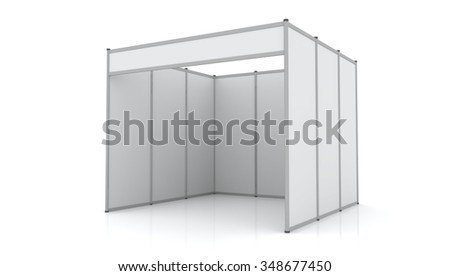 3D Trade Booth system Standard size 3x3 meters isolated on white background