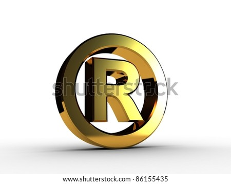 3D trademark gold - stock photo