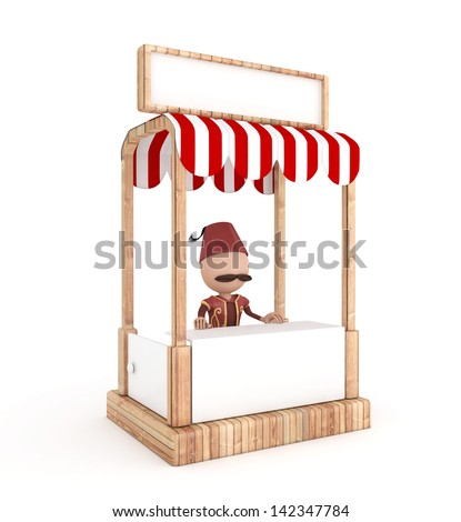 3d traditional human in the stand - ramadan concept - stock photo
