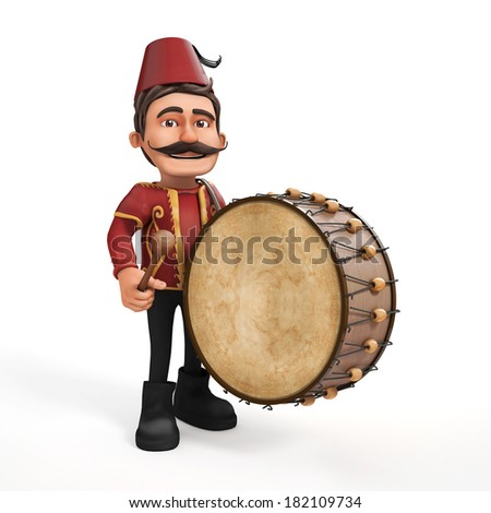 3D Traditional Ramadan Drummer and drum - stock photo