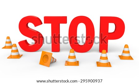 3d  traffic cones and Stop text