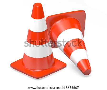 3d traffic cones isolated over white