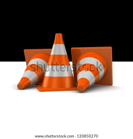 3d traffic cones on white background
