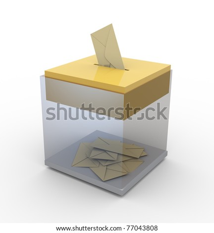 3d transparent ballot box. Concept of voting / email / postage - stock photo