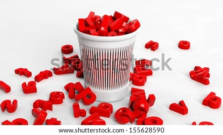3D trash bin full of red letters, conceptual design - stock photo