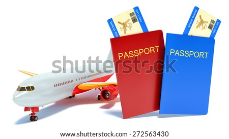 3d travel concept with airplane, passport and boarding pass, isolated white background - stock photo