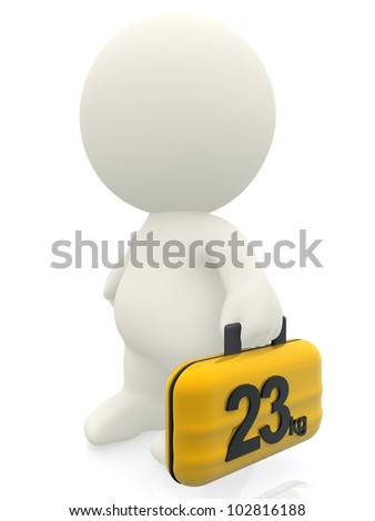 3D traveler carrying a 23 kg bag - isolated over a white background - stock photo