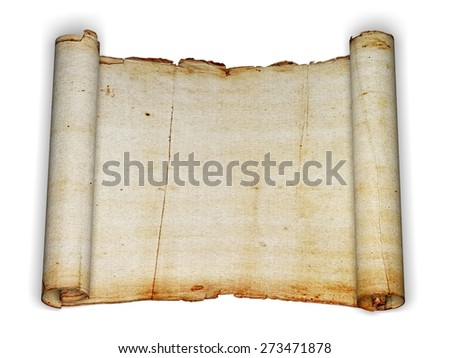 3D. Treasure Map, Scroll, Parchment. - stock photo