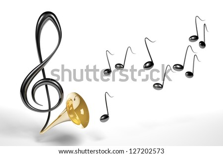 3D treble clef transforming to the gold trumpet with black notes