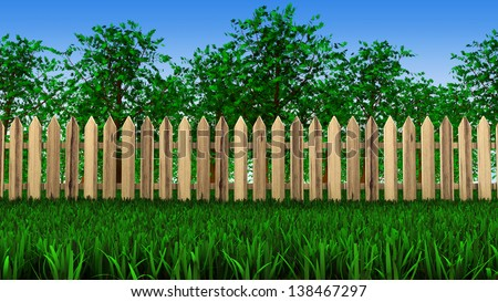 3d trees grow in the field behind the wooden fences