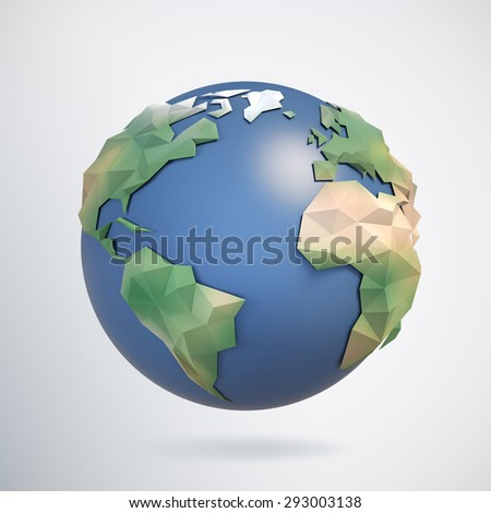 3d triangular globe - stock photo