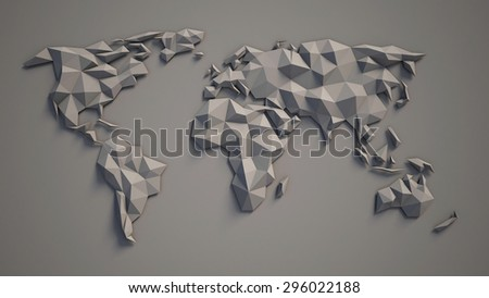 3d triangular world map - stock photo