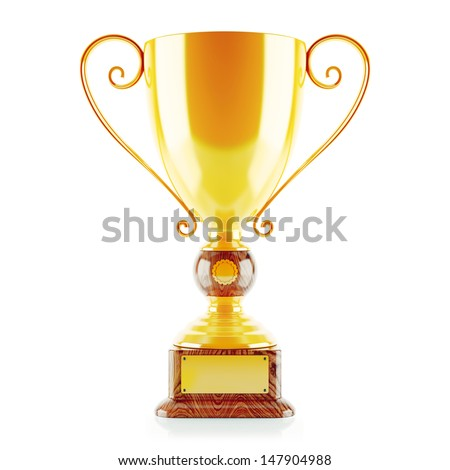 3d Trophy in Gold  - stock photo