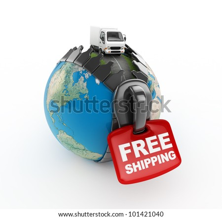 3D Truck on world -Free shipping -isolated - stock photo