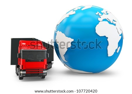3d truck transportation with globe on white background - stock photo