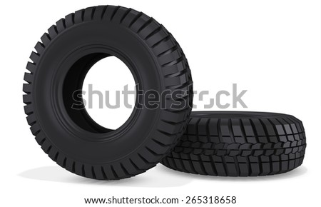 3d truck wheels tires  on white background - stock photo