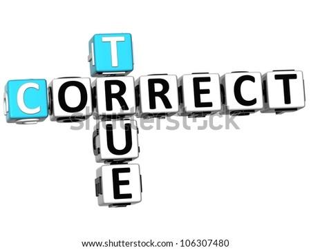3D True Correct Crossword on white background - stock photo
