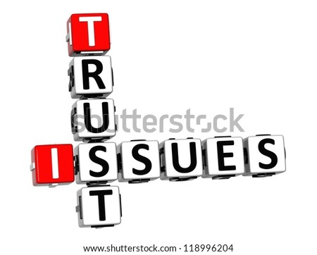 3D Trust Issues Crossword on white background - stock photo