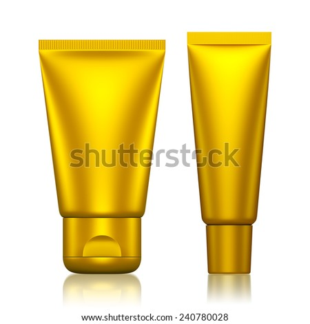 3D Tube Package gold color blank on a white background .isolated  - stock photo