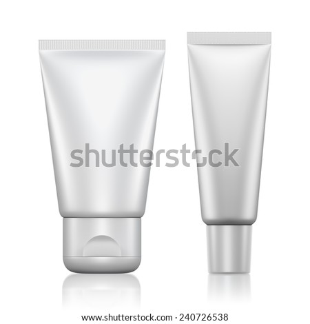 3D Tube Package white color blank on a white background .isolated