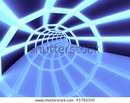 3D Tunnel, perspective view. - stock photo