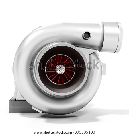 3d turbine turbo charger, car booster on white background 3D illustration - stock photo