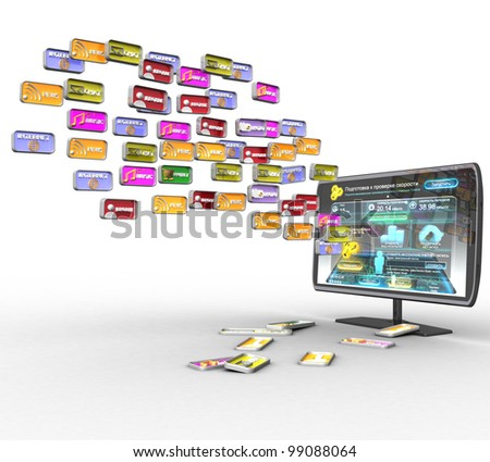 3D TV and social media icons on a white background isolated - stock photo