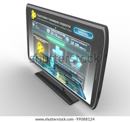 3D TV set on a white background isolated - stock photo