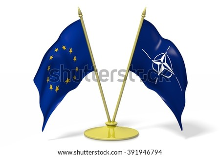 3D two national flags - European Union (EU) and NATO (North Atlantic Treaty Organization). - stock photo