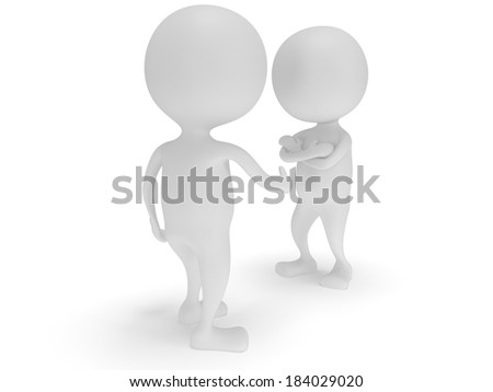 3d two white people do not shake hands. Render isolated on white. Handshake, folded arms, business, teamwork, partnership concept.