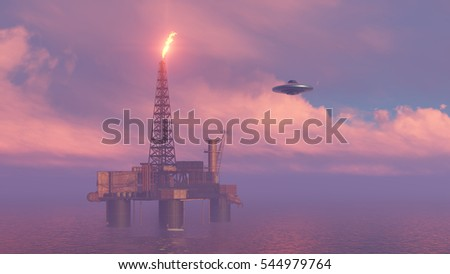 3d UFO above the station of oil in the ocean