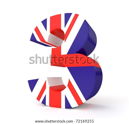 3d UK flag collection - number 3 - stock photo