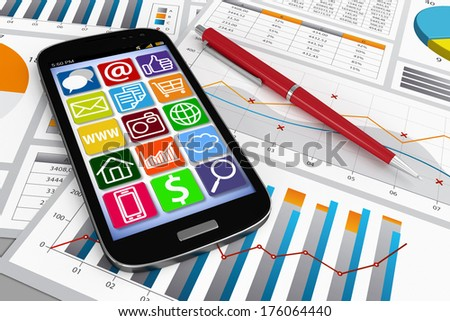 3D ultra slim Smart Phone on Document with Chart and Graph - Global Business Communications