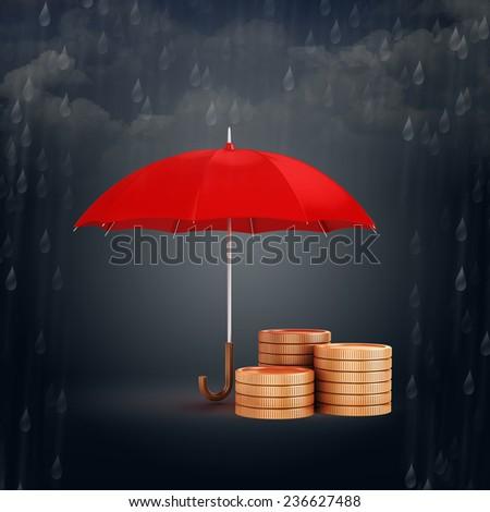 3d umbrella and gold coins, financial savings concept  - stock photo