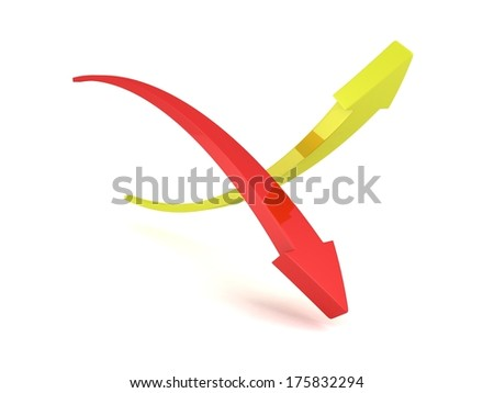 3D Up and Down Arrows on white background - stock photo