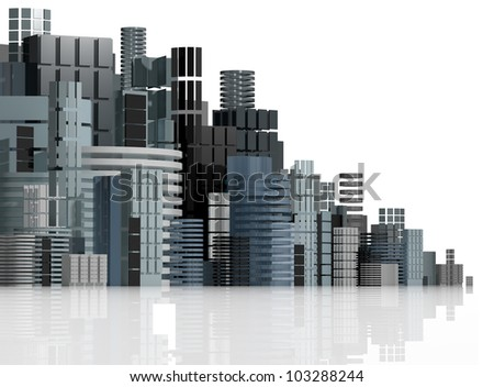 3d urban abstract background, futuristic city panorama illustration.