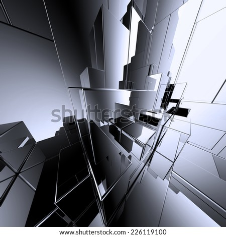 3d urban concept design, abstract mirror geometric background - stock photo